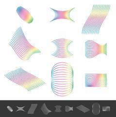 Different line design elements with spectrum color. Monochrome v