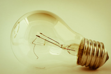Old broken tungsten light bulb