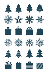 Christmas season vector elements collection isolated on white