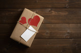 gift for Valentine's Day with red hearts