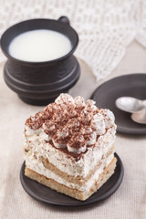 Tiramisu with cup of milk