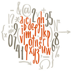 Vector alphabet. Letters of the alphabet written with a brush