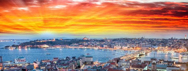 Wonderful panoramic view of Istanbul at dusk across Golden Horn