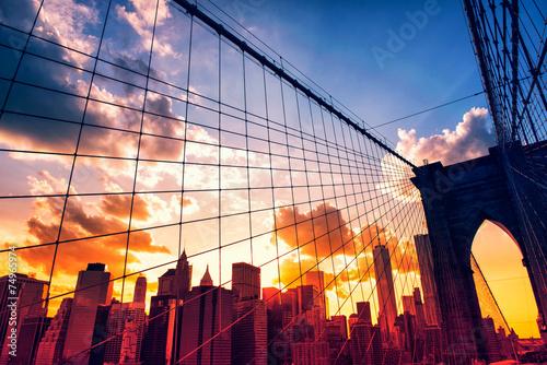 Poster Brooklyn Bridge and Manhattan at sunset