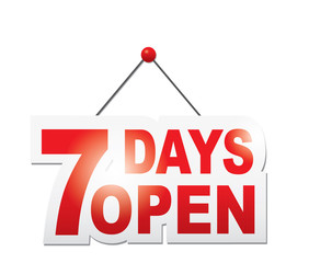 7 days open sign. Vector