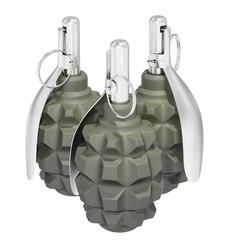 Three green fragmentation grenades