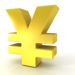 Japanese yen 3d golden sign isolated on white background