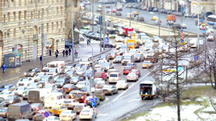 Traffic jams at rush hour