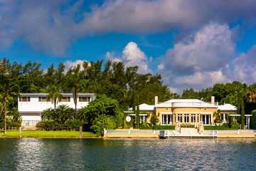 Houses along Collins Canal, in Miami Beach, Florida.