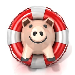 Piggy bank with lifebuoy. Isolated on white. Front view