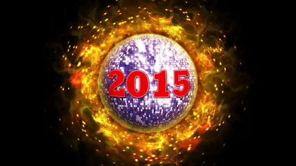 2015 New Year on Fiery Red Disco Ball Background