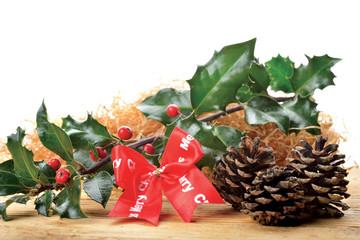 fiocco Merry Christmas con agrifoglio e pigne