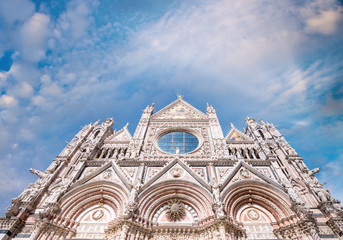 Siena Cathedral against sunset sky, Italy