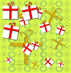 present gift boxes with red ribbon on flower texture