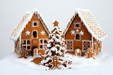 The hand-made eatable gingerbread houses and New Year Tree with poster