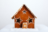 The hand-made eatable gingerbread house and snow decoration poster