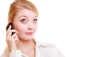 Communication. Businesswoman talking on cell phone