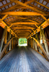 Interior of a covered bridge in rural Lancaster County, Pennsylv