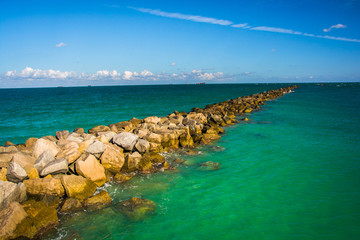 Jetty in the Atlantic Ocean in Miami Beach, Florida.