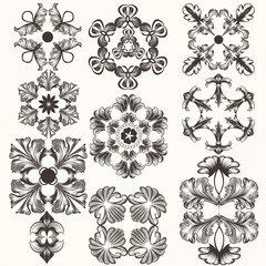 Collection of vector hand drawn swirl rosettes in vintage style