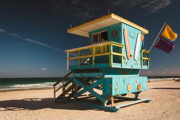 Lifeguard station in Miami Beach, Florida.