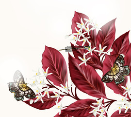 Floral illustration with flowers and butterflies
