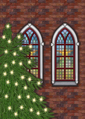 Old church with christmastree outside