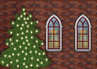 Old church with christmastree outside landscape format