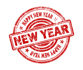 new year stamp on white background