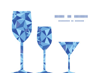 Vector blue triangle texture three wine glasses silhouettes