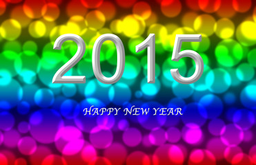 New year 2015 Colorful bokeh background