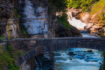 Lower Falls and a walking bridge across the gorge of the Genesee