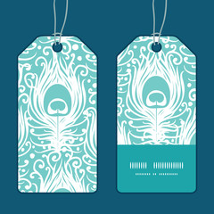 Vector soft peacock feathers vertical stripe frame pattern tags