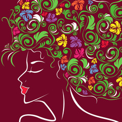 Women head profile with floral hair