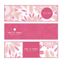 Vector pink abstract flowers horizontal banners set pattern