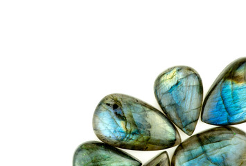 Beautiful labradorite gemstones isolated on white with backgroun