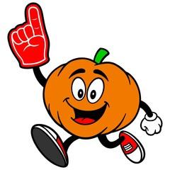 Pumpkin Mascot Running with Foam Finger