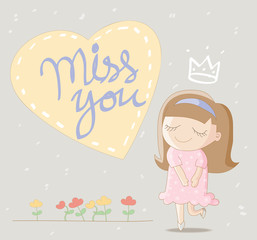 """Cute girl with big heart and lettering """"miss you"""""""
