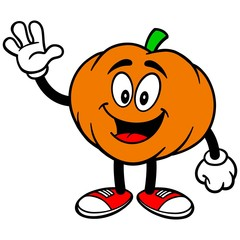 Pumpkin Mascot Waving