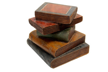 A stack of wooden books