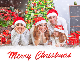 Happy family at home on Christmas