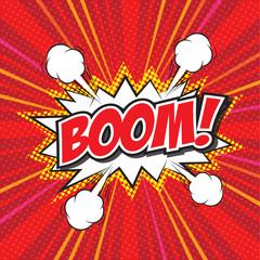 BOOM! wording in comic speech bubble in pop art style
