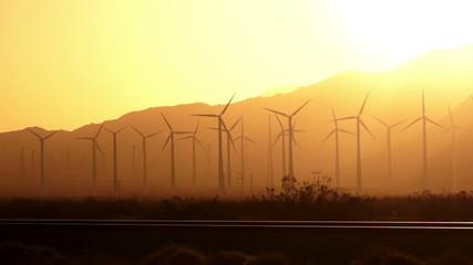 Sunset Green Energy Wind Turbines Alternative Desert Power