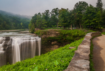 Morning view of Middle Falls, Letchworth State Park, New York.