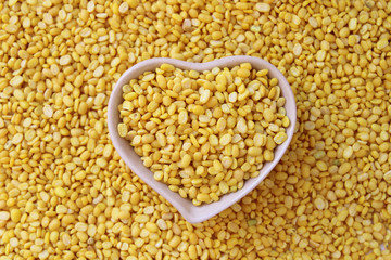 split soy beans in heart shape bowl