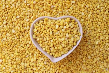 split soy beans in heart shape bowl