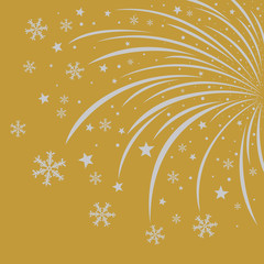 Silver christmas firework design on gold background
