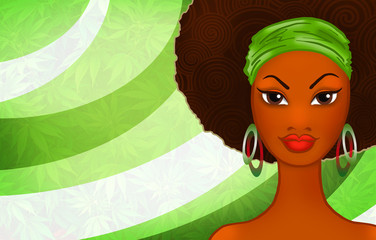 Portrait of a young black woman on ethnic rastafarian background