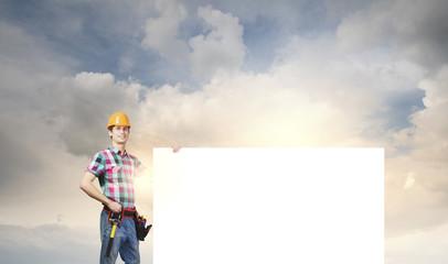 Handyman with banner