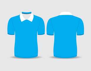 Vector illustration of blue polo t-shirt Front and back views
